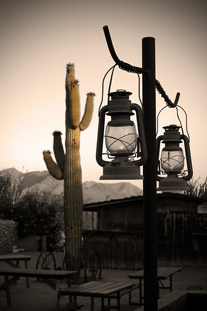 2005 - Arizona Landscape with Miner's lamps in the foreground with Saguaro in the Background.