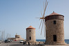 Windmills at Mandraki harbour, Rhodes Town, Rhodes, Greece