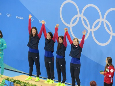 Allison Schmitt, Leah Smith, Maya DiRado and Katie Ledecky win the gold!