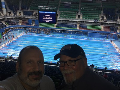Joe and Ed at the swimming event
