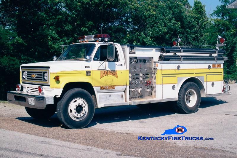 <center> RETIRED <br> Mt Olivet-Robertson County Engine 102  <br> 1978 Chevy/E-One <br> Greg Stapleton photo </center>