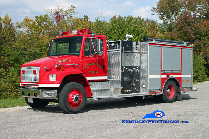 <center> Mt Olivet-Robertson County Engine 3  <br> 2002 Freightliner FL80/American LaFrance-Becker 1250/1000 <br> Kent Parrish photo </center>