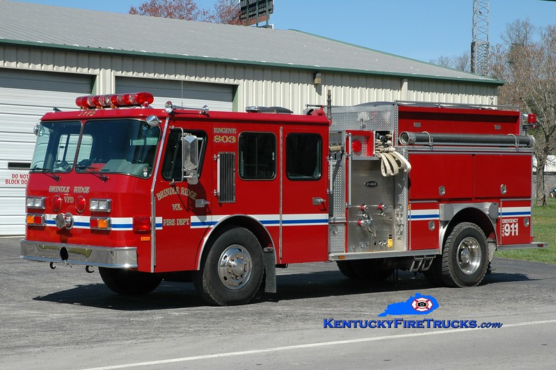 <center> Brindle Ridge  Engine 803 <br> x-Jefferson Twp, NJ <br> 1990 E-One Cyclone 1250/1000 <br> Greg Stapleton photo <br> </center>