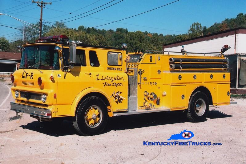 <center> RETIRED <br> Livingston  Engine 34 <br> x-Jessamine County, KY <br> 1975 GMC/Howe 750/750 <br> Greg Stapleton photo <br> </center>