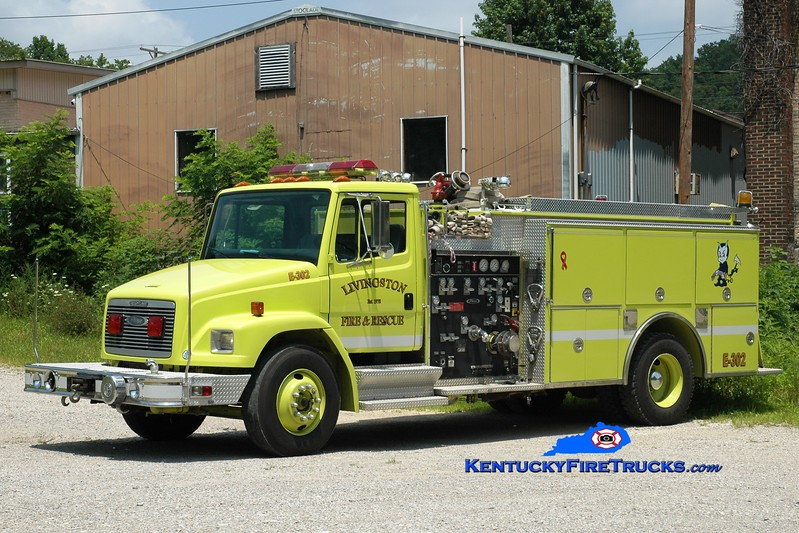 <center> Livingston  Engine 302 <br> x-Dunlap, IL <br> 1994 Freightliner FL80/Pierce/2014 Wynn 1000 & 300/1375  <br> Greg Stapleton photo <br> </center>