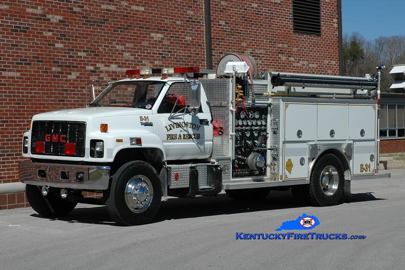 <center> Livingston  Engine 31 <br> 1993 GMC TopKick/Southern Coach 1250/1000 <br> Greg Stapleton photo <br> </center>