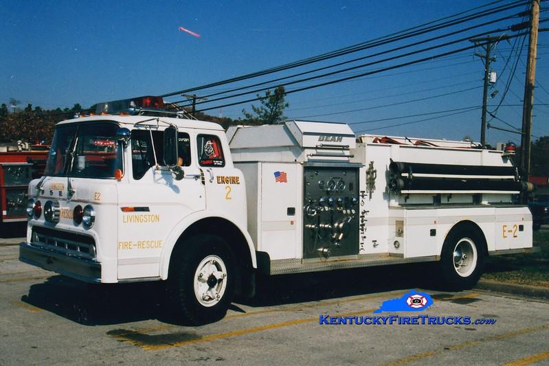 <center> RETIRED <br> Livingston  Engine 32 <br> 1975 Ford C/Bean-FMC 1000/1000 <br> Greg Stapleton photo <br> </center>