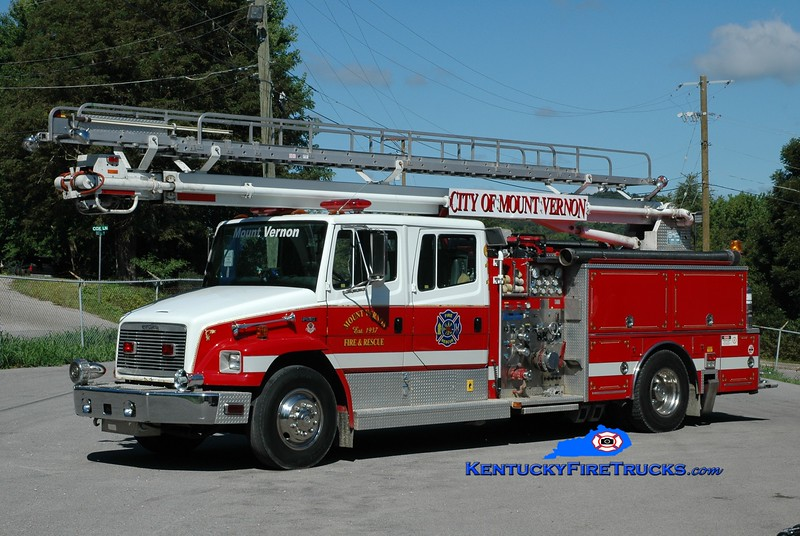 <center> Mount Vernon  Engine 611 <br> x-Taylorsville, KY  <br> 1992 Freightliner FL80/Boardman 1250/500/55' Readi-Tower <br> Greg Stapleton photo <br> </center>
