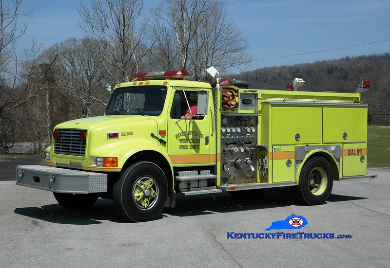 <center> Western Rockcastle County  Engine 1200 <br> x-Somerset, KY <br> 1993 International 4900/Allegheny 1000/500  <br> Greg Stapleton photo </center>