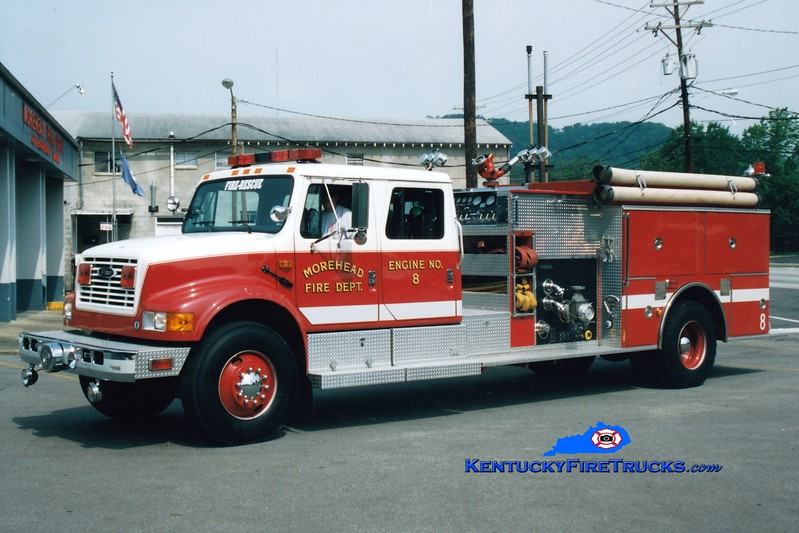 <center> Morehead  Engine 8  <br> 1993 International 4900/Pierce 1250/750 <br> Greg Stapleton photo </center>