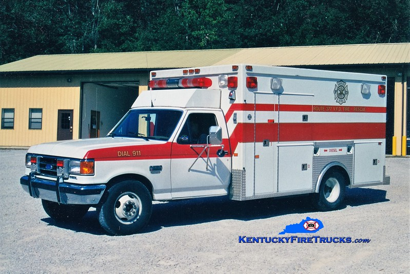 RETIRED<br /> Route 377  Rescue 9<br /> 1989 Ford F-350/First Response<br /> Greg Stapleton photo