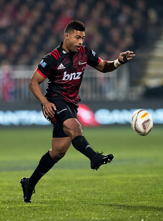 Richie Mo'unga during game 3 of the British and Irish Lions 2017 Tour of New Zealand,The match between  Crusaders and British and Irish Lions, AMI Stadium, Christchurch, Saturday 10th June 2017 (Photo by Kevin Booth Steve Haag Sports)  Images for social media must have consent from Steve Haag