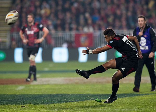 Ritchie Mo'unga during game 3 of the British and Irish Lions 2017 Tour of New Zealand,The match between  Crusaders and British and Irish Lions, AMI Stadium, Christchurch, Saturday 10th June 2017 (Photo by Kevin Booth Steve Haag Sports)  Images for social media must have consent from Steve Haag