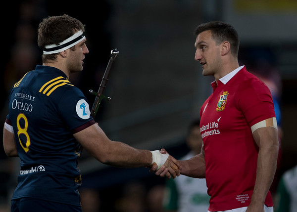Luke Whitelock presents Claymore to Sam Warburton,during game 4 of the British and Irish Lions 2017 Tour of New Zealand,The match between  Highlanders and British and Irish Lions, Forsyth Barr Stadium, Dunedin, Tuesday 13th June 2017 (Photo by Kevin Booth Steve Haag Sports)  Images for social media must have consent from Steve Haag