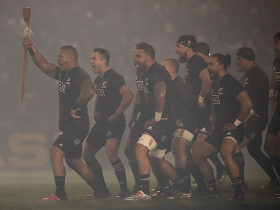 Haka in the fog during game 5 of the British and Irish Lions 2017 Tour of New Zealand,The match between  The Maori All Blacks and British and Irish Lions, Rotorua International Stadium, Rotorua, Saturday 17th June 2017 (Photo by Kevin Booth Steve Haag Sports)  Images for social media must have consent from Steve Haag