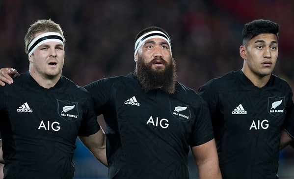 Rieko Ioane Charlie Faumuina Sam Cane during game 7 of the British and Irish Lions 2017 Tour of New Zealand, the first Test match between  The All Blacks and British and Irish Lions, Eden Park, Auckland, Saturday 24th June 2017 (Photo by Kevin Booth Steve Haag Sports)  Images for social media must have consent from Steve Haag