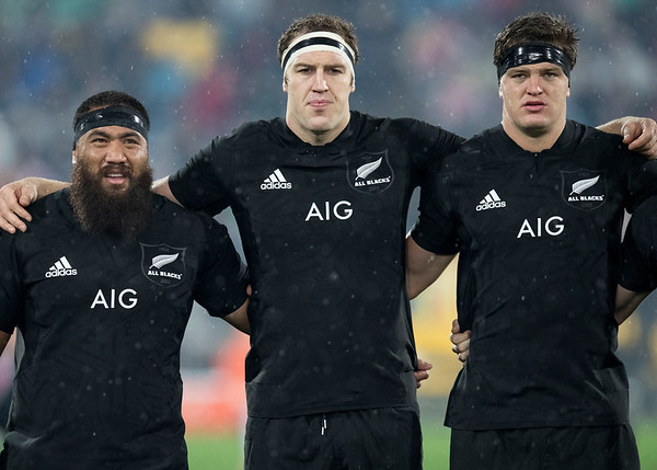Charlie Faumuina  Brodie Retallick  Scott Barrett during game 9 of the British and Irish Lions 2017 Tour of New Zealand, the second Test match between  The All Blacks and British and Irish Lions, Westpac Stadium, Wellington, Saturday 1st July 2017 (Photo by Kevin Booth Steve Haag Sports)  Images for social media must have consent from Steve Haag