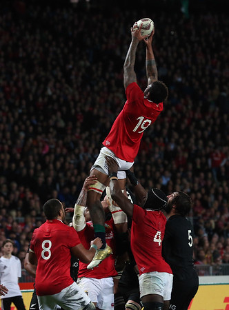 Courtney Lawes  during game 10 of the British and Irish Lions 2017 Tour of New Zealand, the third Test match between  The All Blacks and British and Irish Lions, Eden Park, Auckland, Saturday 8th July 2017 (Photo by Kevin Booth Steve Haag Sports)  Images for social media must have consent from Steve Haag