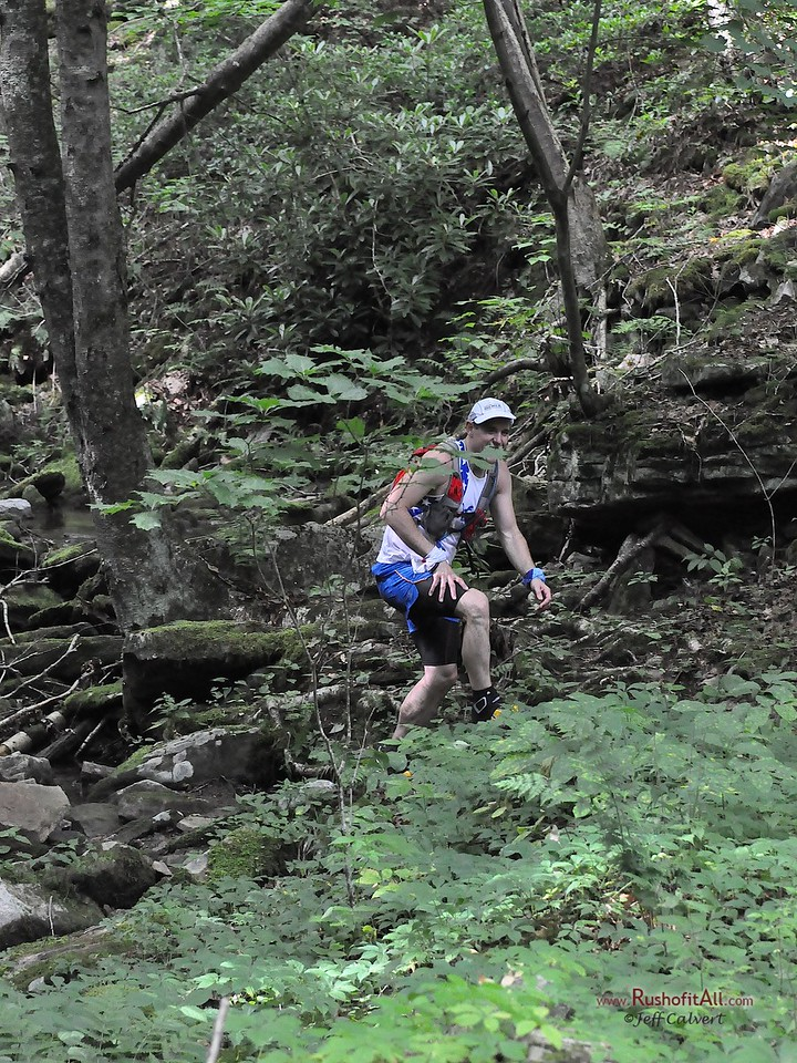 Eastern States 100: runners on the trail in Ott Fork (around mile 22).
