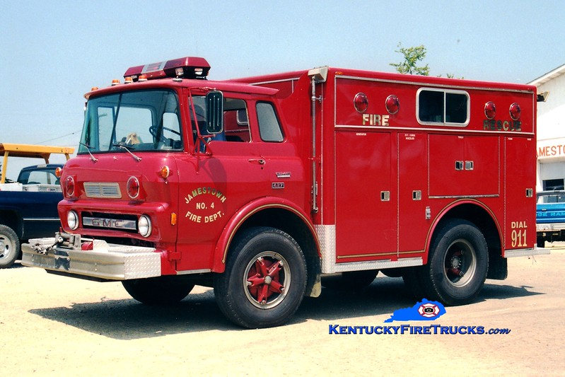 <center> RETIRED <br> Jamestown  Rescue 4 <br> 1976 GMC TC6500/3-D <br> Greg Stapleton photo <br> </center>