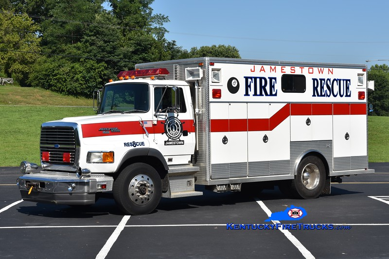 Jamestown Rescue 8<br /> x-South Oldham, KY<br /> 1992 Ford L8000/EVI <br /> Greg Stapleton photo