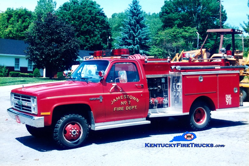 <center> Jamestown  Engine 7 <br> 1987 Chevy K30 4x4/Pierce 400/250 <br> Greg Stapleton photo <br> </center>