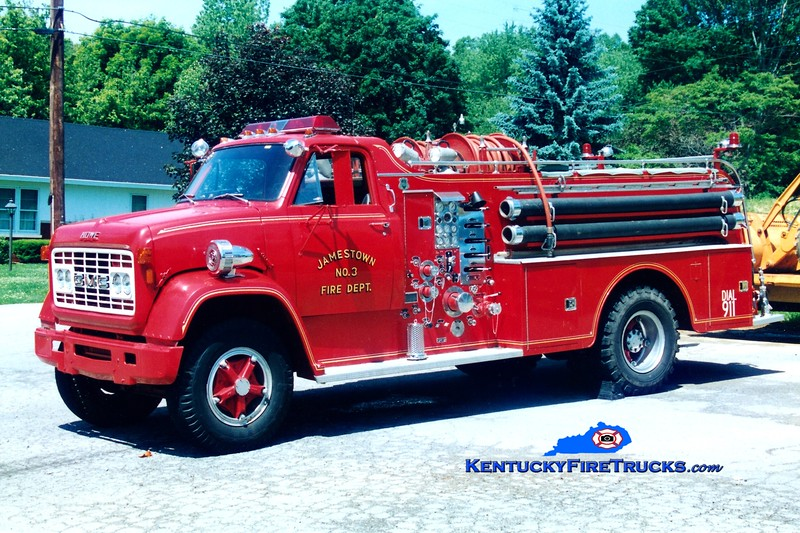 <center> RETIRED <br> Jamestown  Engine 3 <br> 1970 GMC 7500/Howe 1000/750 <br> Greg Stapleton photo <br> </center>