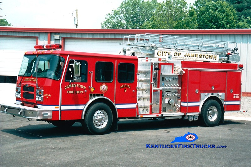 <center> RETIRED <br> Jamestown  Aerial 9 <br> 2003 E-One Typhoon 1250/750/40/50' Teleboom <br> Greg Stapleton photo <br> </center>