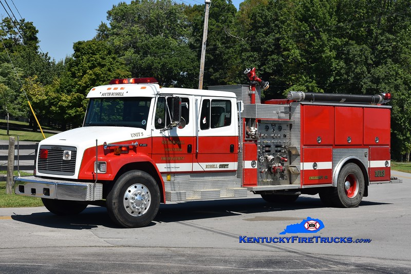 South Russell Engine 5 <br /> x-Baltimore County, MD and Kings Creek, KY <br /> 1996 Freightliner FL80/EEI 1250/1000<br /> Greg Stapleton photo
