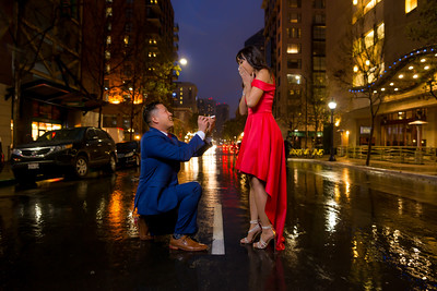 Wet And Rain Engagement In Downtown San DIego