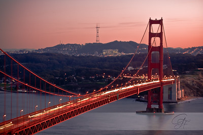 Rosy glow over the Golden Gate
