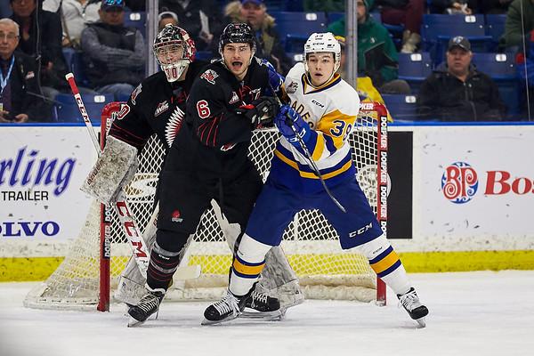 The Saskatoon Blades host the Moose Jaw Warriors at the Sask Tel Centre Saskatoon, Saskatchewan, Canada, March 10, 2019