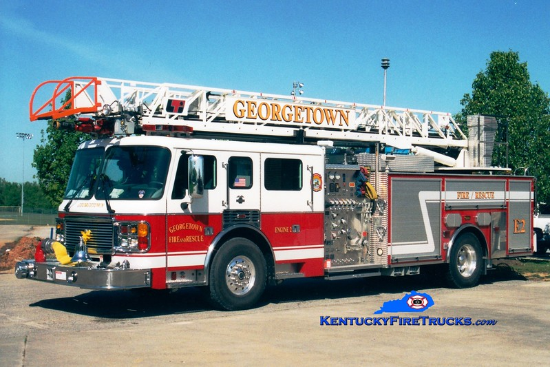<center> RETIRED <br> Georgetown  Engine 2  <br> 2002 American LaFrance Eagle/LTI 1500/500/75'  <br> Greg Stapleton photo </center>