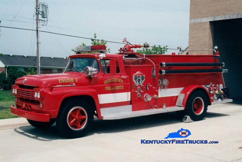 <center> RETIRED <br> Georgetown  Engine 2  <br> 1957 Ford F-800/Central 750/500   <br> Greg Stapleton photo </center>