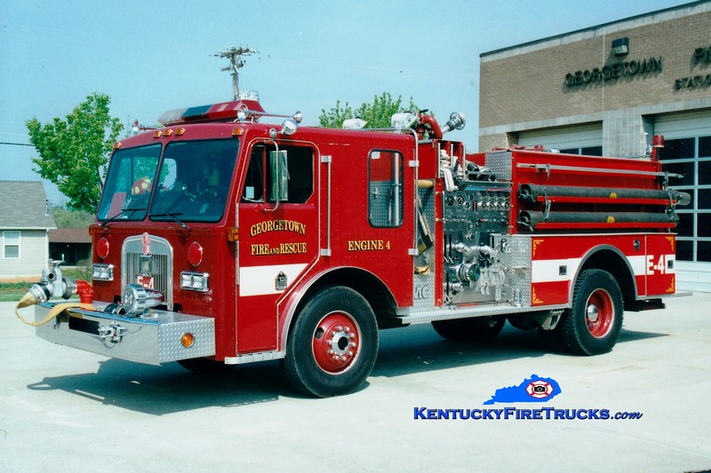 <center> RETIRED <br> Georgetown  Engine 4  <br> 1985 Kenworth/FMC 1250/750   <br> Greg Stapleton photo </center>