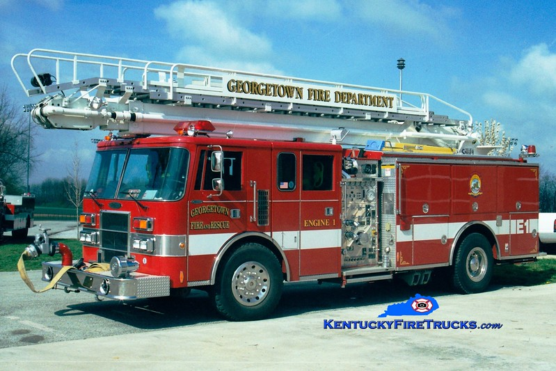 <center> RETIRED <br> Georgetown  Engine 1 <br> 1992 Pierce Lance 1500/500/65' Telesqurt   <br> Greg Stapleton photo </center>