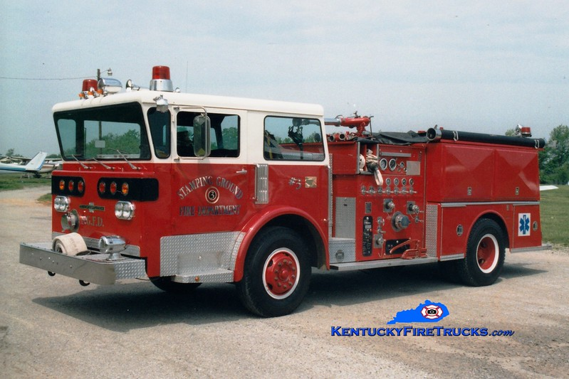 <center> RETIRED <br> Stamping Ground Engine 3  <br> x-Fairview, OH  <br> 1977 American LaFrance Pioneer III 1250/750 <br> Greg Stapleton photo </center>