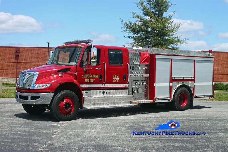 <center> Stamping Ground Engine 24  <br> 2009 International 4900/E-One 1250/1000 <br> Kent Parrish photo </center>