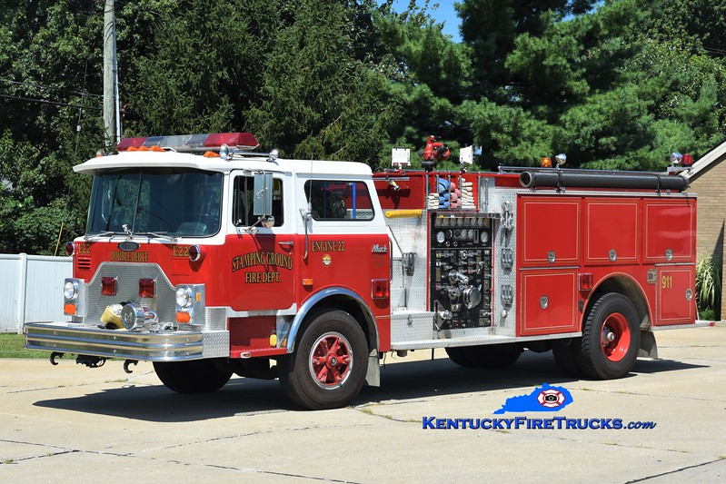 Stamping Ground  Engine 22<br /> x-Bainbridge, OH & Piner-Fiskburg, KY<br /> 1987 Mack CF/Pierce 1500/1000<br /> Greg Stapleton photo