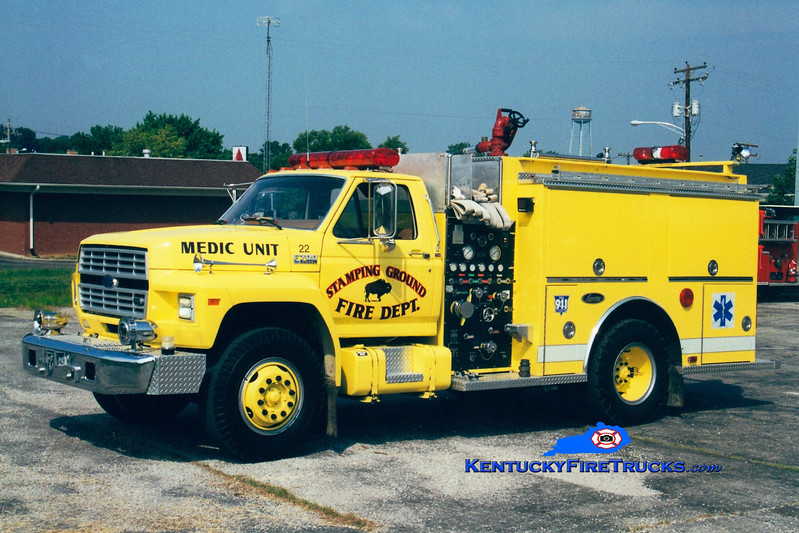 <center> RETIRED <br> Stamping Ground Engine 22  <br> x-Glenwood, IL <br> 1991 Ford F/Luverne 500/500 <br> Greg Stapleton photo </center>