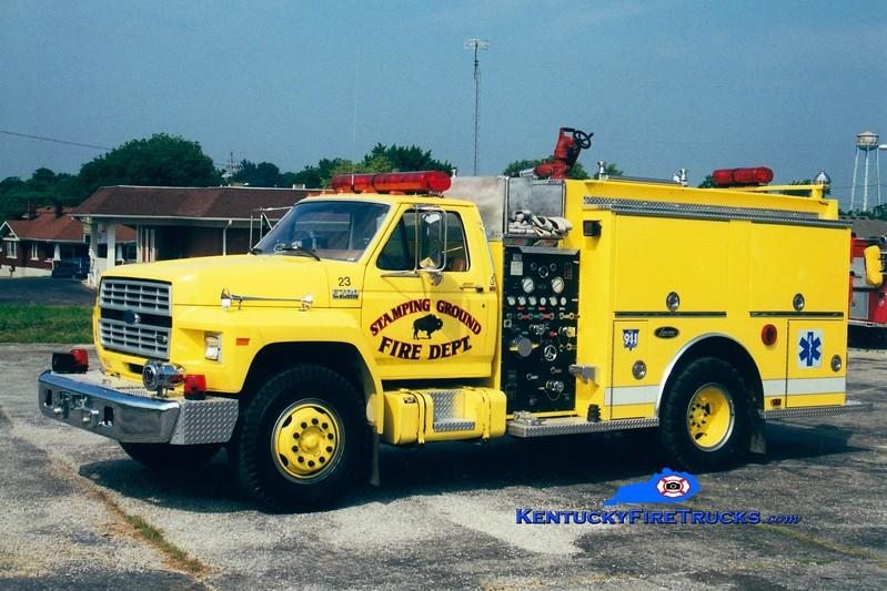 <center> Stamping Ground Engine 23  <br> x-Glenwood, IL <br> 1991 Ford F/Luverne 500/500 <br> Greg Stapleton photo </center>