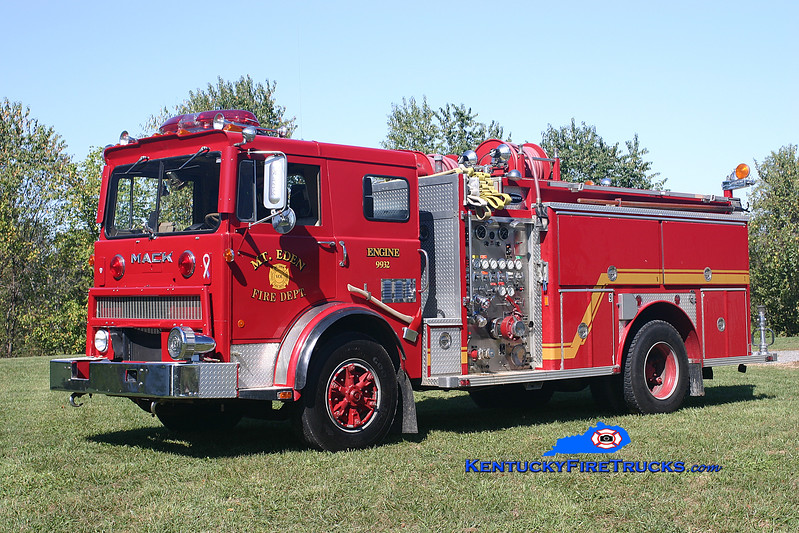 <center> RETIRED <br> Mt Eden  Engine 9932  <br> x-Fairdale, KY  <br> 1978 Mack MB/1986 E-One 1250/1000 <br> Kent Parrish photo </center>