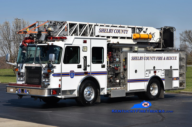 Shelby County  Quint 3354<br /> x-Harrods Creek, KY and Nichols, KY<br /> 2000 Spartan Gladiator/3-D/Aerial Innovations 1500/500/75'<br /> Greg Stapleton photo