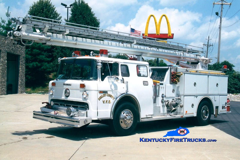 <center> REASSIGNED <br> Shelby County  Truck 3358  <br> 1982 Ford C-8000/Grumman 1000/500/55' Readi-Tower  <br> Greg Stapleton photo </center>
