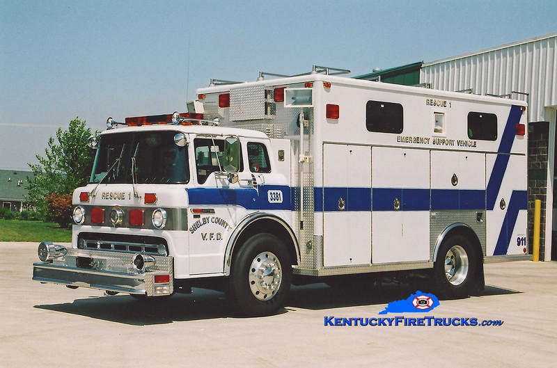 <center> RETIRED <br> Shelby County  Rescue 3381  <br> 1991 Ford C-8000/EVF <br> Kent Parrish photo </center>