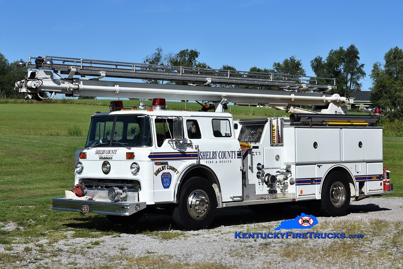 Shelby County Truck 3359<br /> x-Truck 3358 and 308<br /> 1982 Ford C-8000/Grumman 1000/500/55' Readi-Tower<br /> Greg Stapleton photo