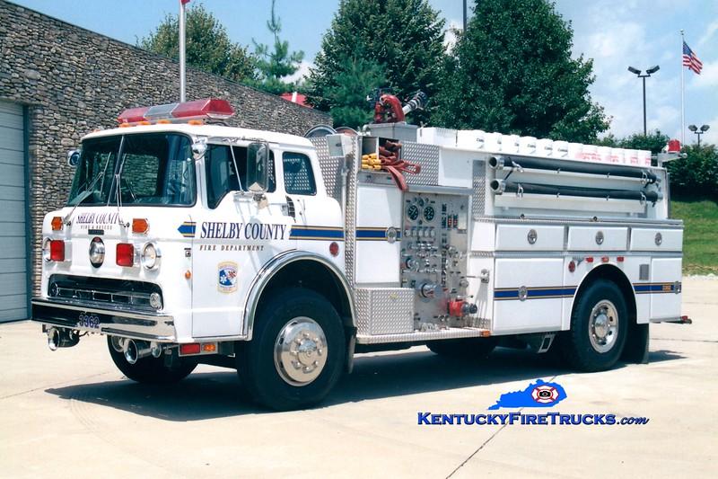 <center> RETIRED <br> Shelby County  Tanker 3362  <br> x-Middletown, KY <br> 1987 Ford C-8000/Grumman 450/1500/60 <br> Greg Stapleton photo </center>