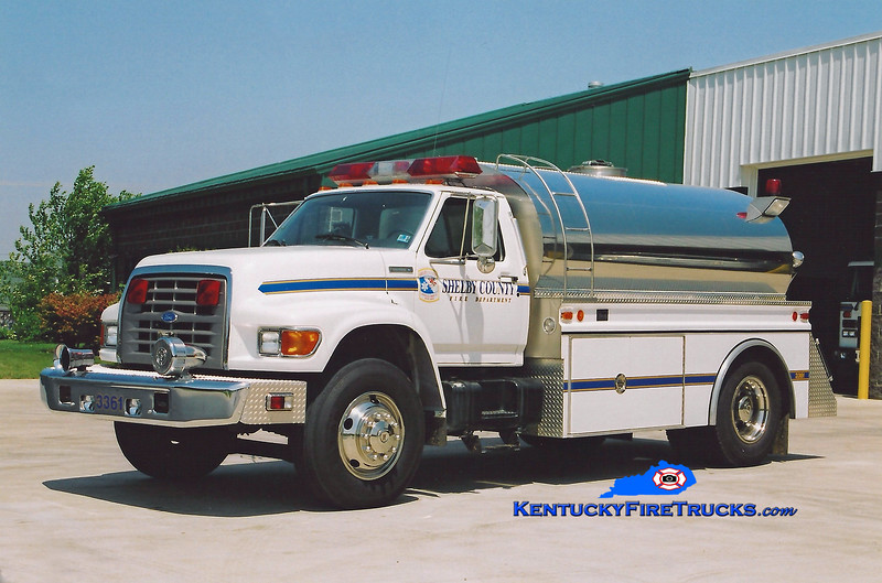 <center> REASSIGNED <br> Shelby County  Tanker 3361 <br> 1996 Ford F-800/4 Guys  300/1800 <br> Kent Parrish photo </center>