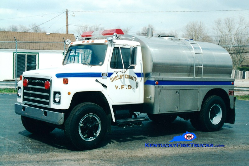 <center> RETIRED <br> Shelby County  Tanker 3367  <br> 1979 International S/Bluegrass 0/2000 <br> Greg Stapleton photo </center>