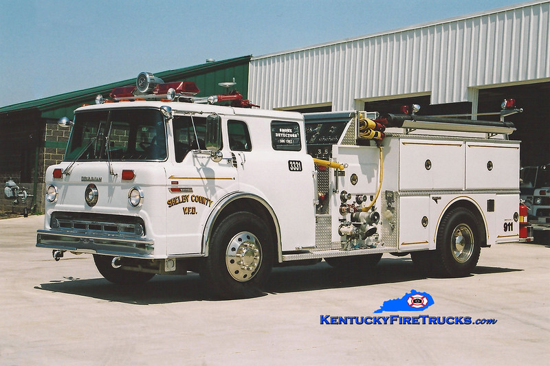 <center> RETIRED <br> Shelby County  Engine 3331  <br> x-Engine 301 <br> 1982 Ford C-8000/Grumman 1250/600/25 <br> Kent Parrish photo </center>